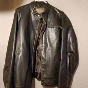 Brown Leather Look Men's Arizona Jeans Jacket XL